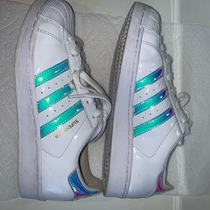 CUSTOM MADE holographic adidas superstars